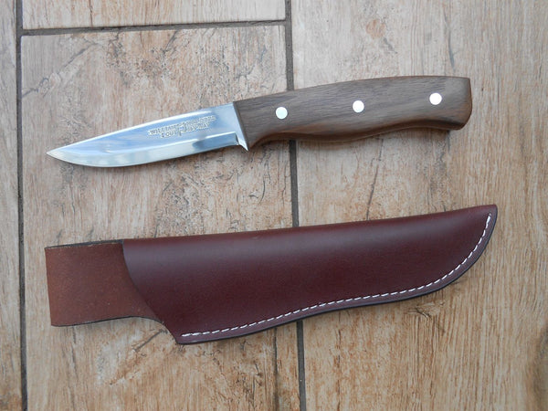 Hunting or bushcraft knife - scandi grind - micarta or walnut handle