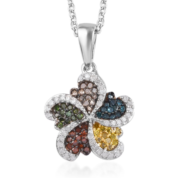 0.50ctw Multi Diamond Necklace in Platinum over Sterling Silver Gemstone Collectors U.S.