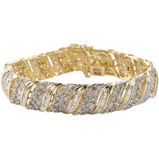 "10.00ctw Diamond Bracelet in 22g 10K Yellow Gold 7"" Gemstone Collectors U.S."