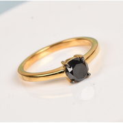 1.00ctw Black Diamond Solitaire Ring in 14k Vermeil Yellow Gold over Sterling Silver Gemstone Collectors U.S.