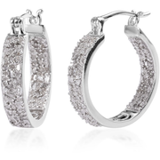 1.00ctw Diamond Inside Out Hoop Earrings in Platinum over Sterling Silver Gemstone Collectors U.S.