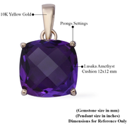 12mm Cushion Amethyst Pendant in 10K Yellow Gold Gemstone Collectors U.S.