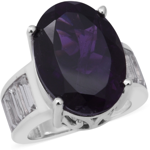 13.85ctw Amethyst & White Topaz Ring in Platinum over Sterling Silver Gemstone Collectors U.S.