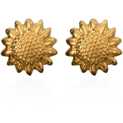 14K Yellow Gold Vermil over 925 Sterling Silver Flower Earrings Gemstone Collectors U.S.