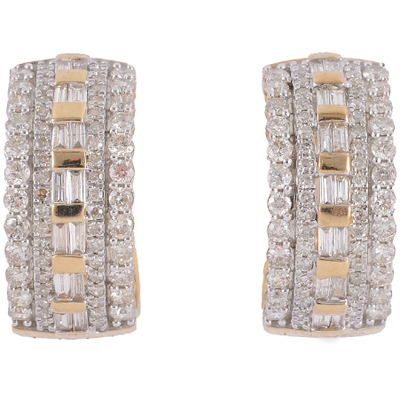 1.50ctw Diamond Hoop Earrings in 10K Yellow Gold Gemstone Collectors U.S.