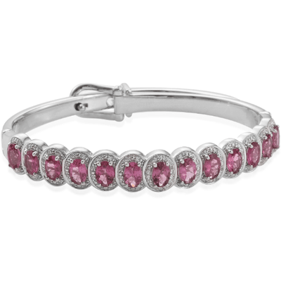 "6.50"" Pink Tourmaline & Zircon Bangle Bracelet Adjustable 6.23ctw Gemstone Collectors U.S."