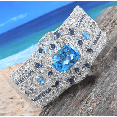 "6.75"" Swiss Blue Topaz Multi Gemstone Hinged Cuff Bracelet 31.13ctw Gemstone Collectors U.S."