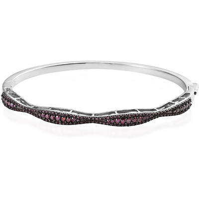 "7.25"" Natural Purple Diamond Bangle Bracelet in Platinum over Sterling Silver 1.00ctw. Gemstone Collectors U.S."