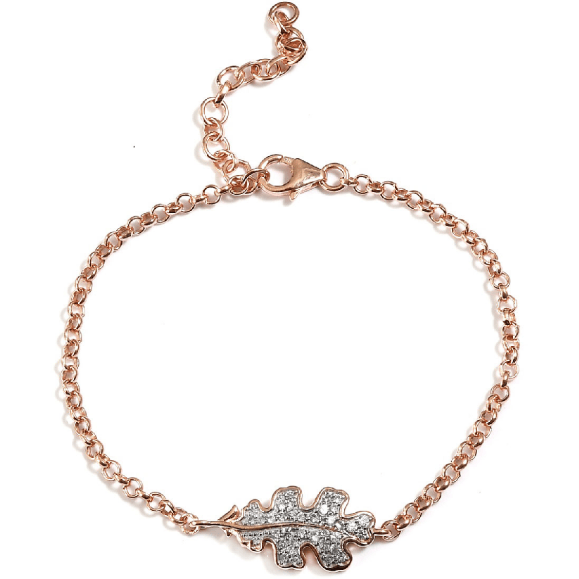 "7.25"" Natural White Zircon Leaf Bracelet in Vermeil Rose Gold over Sterling Silver Gemstone Collectors U.S."