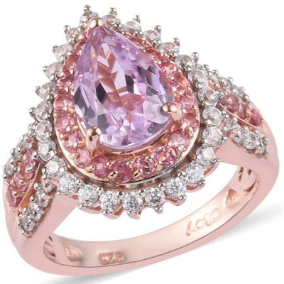 AA Kunzite & Multi Gemstone Double Halo Ring in Rose Gold over Sterling Silver Gemstone Collectors U.S.