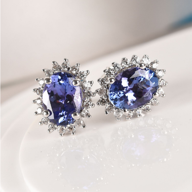 AA Oval Tanzanite & Zircon Halo Stud Earrings in 10K White Gold Gemstone Collectors U.S.