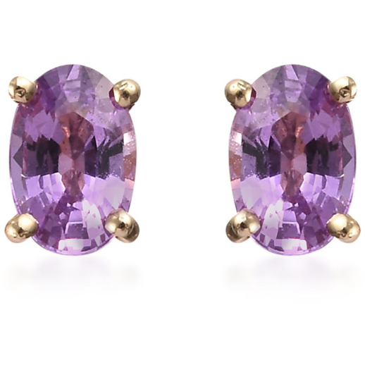 AA Purple Sapphire Oval Stud Earrings in 10K Yellow Gold Gemstone Collectors U.S.