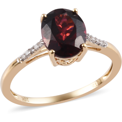 AA Rhodolite Garnet & Diamond Solitaire Ring in 10K Yellow Gold Gemstone Collectors U.S.
