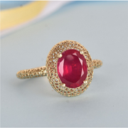 AA Ruby Solitaire Ring in 10K Yellow Gold Gemstone Collectors U.S.