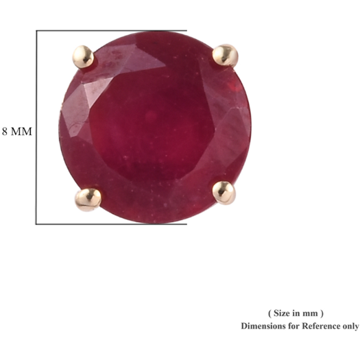 AA Ruby Stud Earrings in 10K Yellow Gold Gemstone Collectors U.S.