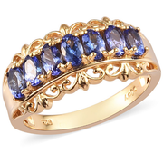 AA Tanzanite Scroll Band Ring in Yellow Gold over Sterling Silver Gemstone Collectors U.S.
