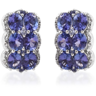 AA Tanzanite & Zircon Omega Back Earrings in Platinum over Sterling Silver Gemstone Collectors U.S.