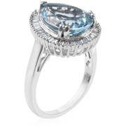 AAA Aquamarine & Diamond Pear Halo Ring in 18K White Gold Gemstone Collectors U.S.