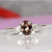 AAA Color Change Garnet & Diamond Ring in 18K White Gold Gemstone Collectors U.S.