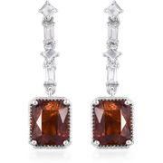 AAA Hessonite Garnet & White Topaz Earrings in Platinum over Sterling Silver Gemstone Collectors U.S.