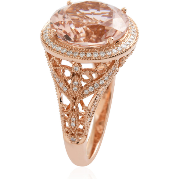 AAA Morganite & Diamond Halo Ring in 18K Rose Gold Gemstone Collectors U.S.