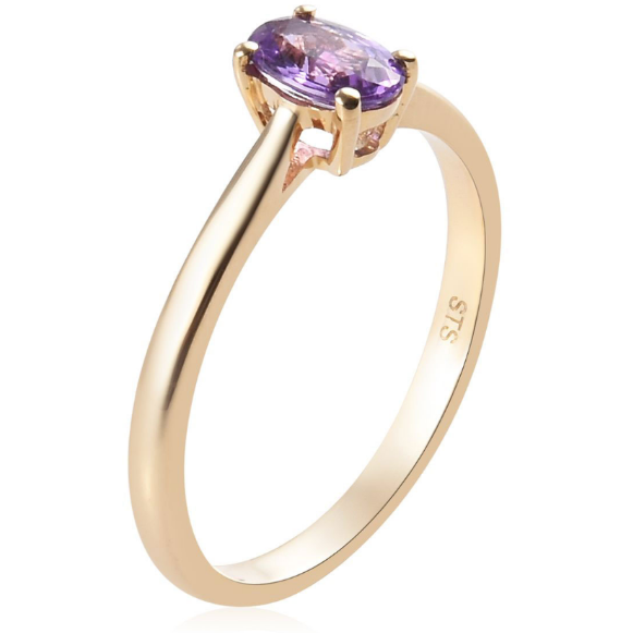 AAA Purple Sapphire Oval Solitiare Ring in 14K Yellow Gold Gemstone Collectors U.S.
