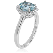 AAA Santa Maria Aquamarine & Diamond Halo Ring in 18K White Gold Gemstone Collectors U.S.