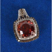 AAA Sphalerite, Champagne & White Diamond Pendant in 10K Rose Gold Gemstone Collectors U.S.