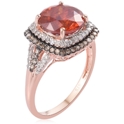 AAA Sphalerite, Champagne & White Diamond Ring in 10K Rose Gold Gemstone Collectors U.S.