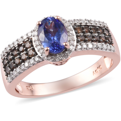 AAA Tanzanite, Champagne & White Diamond Ring in Rhodium & Rose Gold over Sterling Silver Gemstone Collectors U.S.