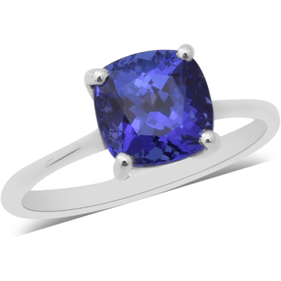AAA Tanzanite Cushion Solitaire Ring in 18K White Gold Gemstone Collectors U.S.