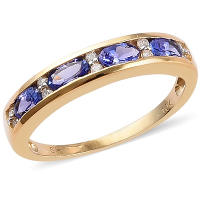 AAA Tanzanite & Diamond Band Ring in 10K Yellow Gold Gemstone Collectors U.S.