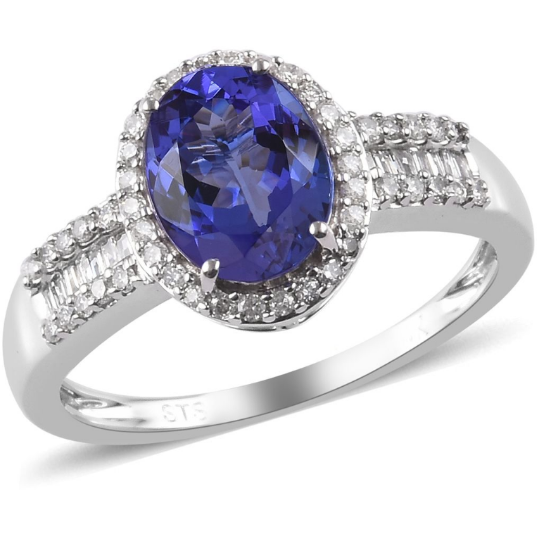 AAA Tanzanite & Diamond Halo Ring in 14K White Gold Gemstone Collectors U.S.