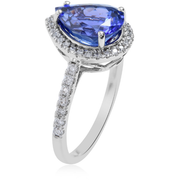 AAA Tanzanite & Diamond Pear Halo Ring in 18K White Gold Gemstone Collectors U.S.