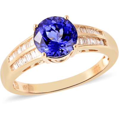 AAA Tanzanite & Diamond Ring in 18K Yellow Gold Gemstone Collectors U.S.