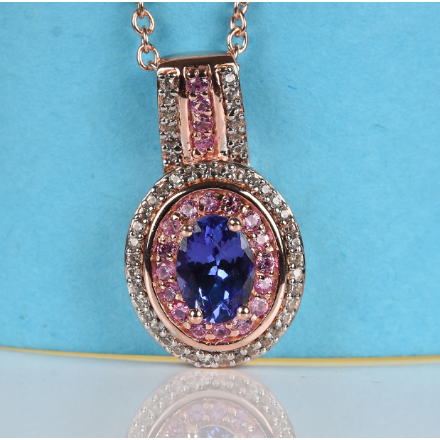 AAA Tanzanite, Pink Sapphire & White Zircon Necklace in Rose Gold over Sterling Silver Gemstone Collectors U.S.