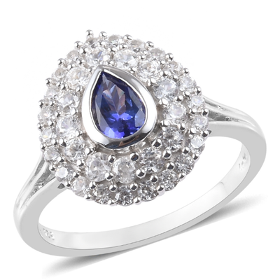 AAA Tanzanite & White Zircon Double Ring in Platinum over Sterling Silver Gemstone Collectors U.S.