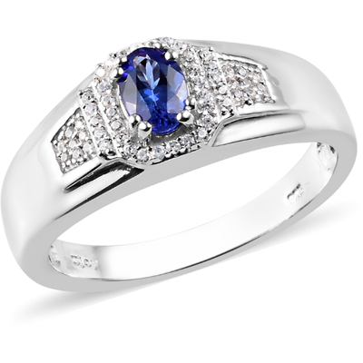 AAA Tanzanite & White Zircon Men's Ring in Platinum over Sterling Silver Gemstone Collectors U.S.