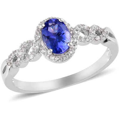 AAA Tanzanite & Zircon Halo Ring in Platinum over Sterling Silver Gemstone Collectors U.S.