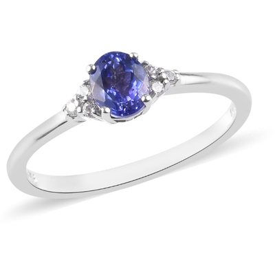 AAA Tanzanite & Zircon Solitaire Ring in Platinum over Sterling Silver Gemstone Collectors U.S.