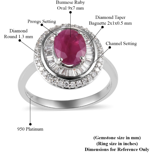 AAAA Burmese Ruby Oval & Diamond Double Halo Ring in 950 Platinum Gemstone Collectors U.S.