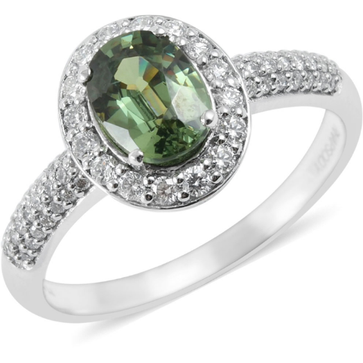 AAAA Demantoid Garnet & Diamond Halo Ring in 950 Platinum Gemstone Collectors U.S.