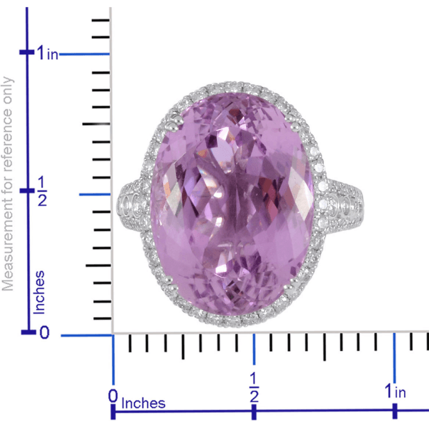 AAAA Premium Petroke Kunzite & Diamond Ring in 950 Platinum Gemstone Collectors US