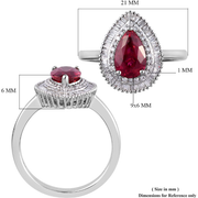 AAAA Rubellite & Diamond Halo Ring in 950 Platinum Gemstone Collectors U.S.