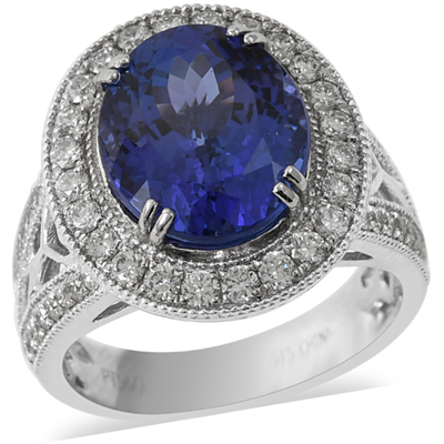 AAAA Tanzanite & Diamond Halo Ring in solid 950 Platinum Gemstone Collectors U.S.