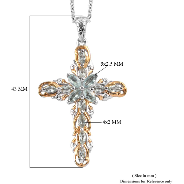 Alexandrite Cross Necklace in Yellow Gold & Platinum over Sterling Silver Gemstone Collectors U.S.