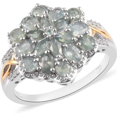 Alexandrite & Zircon Cluster Ring in Vermeil 14K Yellow Gold & Platinum over Sterling Silver Gemstone Collectors U.S.