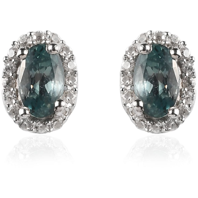 Alexandrite & Zircon Halo Stud Earrings in Platinum over Sterling Silver Gemstone Collectors U.S.