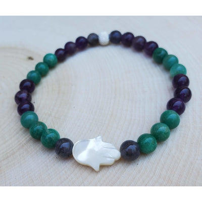 Amazonite, Iolite and Amethyst Hamsa Bracelet Mindful Creations by Gloria