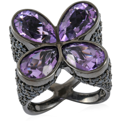 Amethyst & Black Spinel Designer Quad Ring in Black Rhodium Sterling Silver Gemstone Collectors U.S.